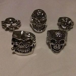 5 Stainless Skull Rings sz 8 Marvel Harley Biker